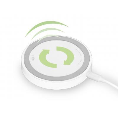 Sbs oplader: Wireless desk charger, QI technology, 1500 mAh - Grijs, Wit
