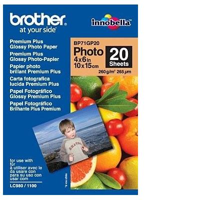 Brother fotopapier: BP71GP20 Premium Glossy Photo Paper - Wit