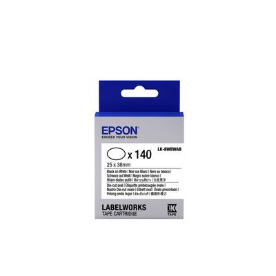 Epson -etikettencassette voorgesneden ovaal LK-8WBWAB, zwart/wit 25 x 38 mm (140 etiketten) Labelprinter tape
