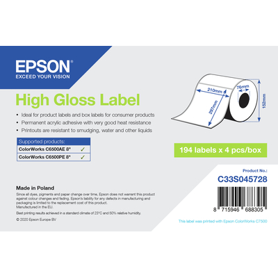 Epson High Gloss Label - Die-Cut Roll: 210mm x 297mm, 194 labels Etiket - Wit