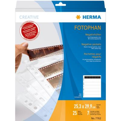 Herma archieveerblad voor negatieven: Negative pockets transparent for 7 x 6 negative stripes 25 pcs. - Transparant