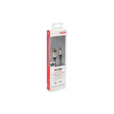 Ednet USB 2.0-aansluitkabel, type A - mini B St/st, 1,8 m, High Speed, type A omkeerbaar, verguld, zwart USB kabel .....
