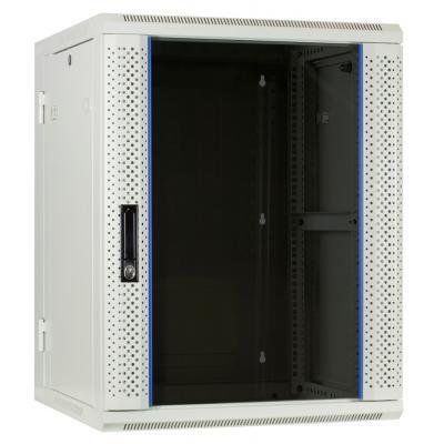 DS-IT 15U witte wandkast (kantelbaar) met glazen deur 600x600x770mm Rack