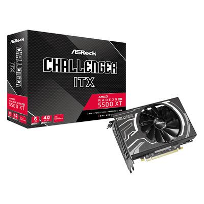 Asrock Radeon RX 5500 XT Challenger ITX 8GB GDDR6, PCI Express 4.0 x8 Videokaart - Zwart,Grijs