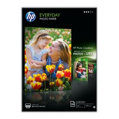 Hp fotopapier: Everyday glanzend fotopapier, 25 vel, A4/210 x 297 mm - Zwart, Blauw, Wit