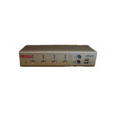 Longshine KVM Switch, 4x port, PS2/USB, 4x Cable KVM switch