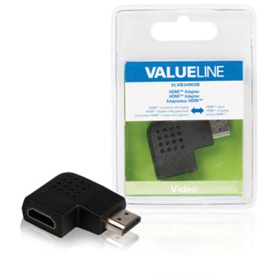 Valueline HDMI-adapter HDMI-connector links gehoekt - HDMI input zwart Kabel adapter