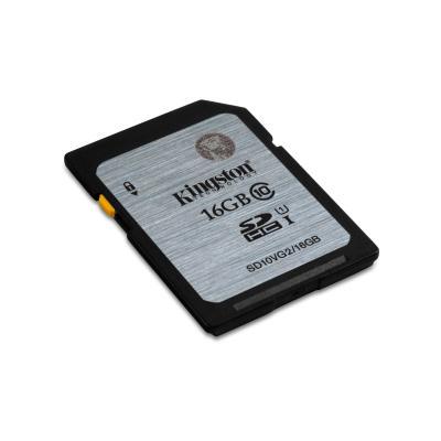 Kingston technology flashgeheugen: Class 10 UHS-I SDHC 16GB - Zwart, Grijs