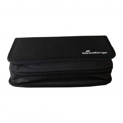 Mediarange : Media storage wallet for 96 discs, nylon, black - Zwart