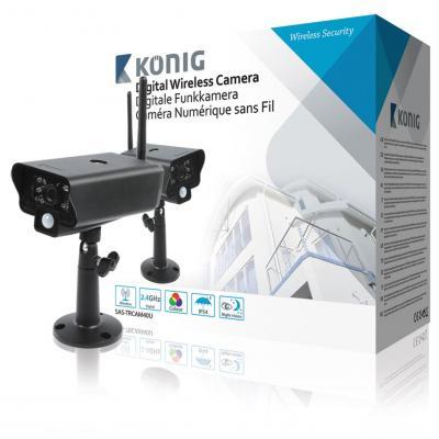 König beveiligingscamera: 2,4 GHz Draadloze Camera Buiten VGA Zwart