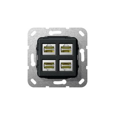 GIRA Basiselement Modular Jack RJ45 Cat.6 10 GB Ethernet viervoudig Koppeling Wandcontactdoos - Zwart