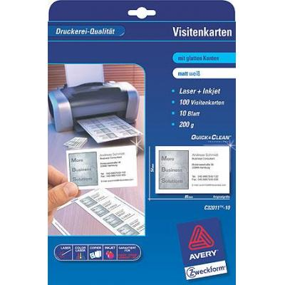 Avery visitiekaart: Business Cards 85 x 54 Quick & Clean 10 Sheets