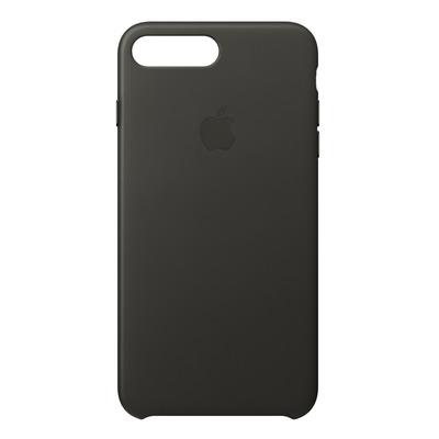 Apple mobile phone case: Leren hoesje voor iPhone 8 Plus/7 Plus - Houtskoolgrijs - Kolen, Grijs