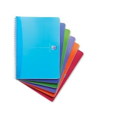 Elba schrijfblok: Oxford Office Notebook Twin Wirebound Plastic Ruled 180pp 90gsm A4 Bright Assorted - Multi kleuren
