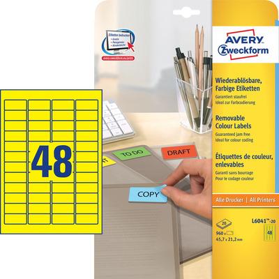 Avery 45.7 x 21.2 mm, 960 pcs, geel Etiket