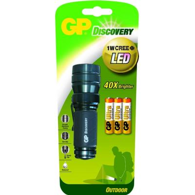 Gp batteries zaklantaarn: LED torch incl. 3 x 24AU & 1W CREE LED - Zwart, Grijs