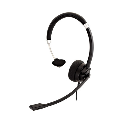 V7 Deluxe Mono, boom mic, Adjustable Headband for PC, Mac, Laptop Computer, Chromebook, Black, 3.5mm connector .....