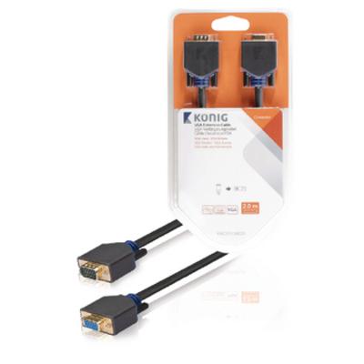 König VGA - VGA M/F 2m VGA kabel  - Antraciet