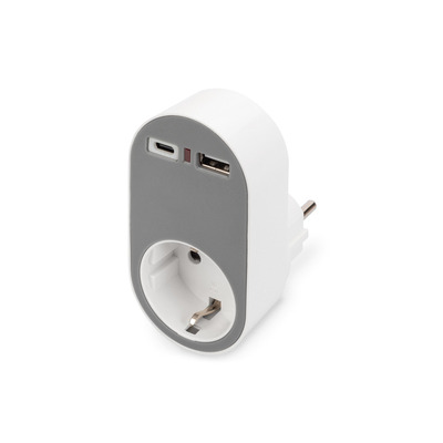 Digitus USB Safety Plug Power Adapter, 1x USB-A, 1x USB-C 16A, 250v, 50 Hz, IP20 Oplader - Grijs,Wit