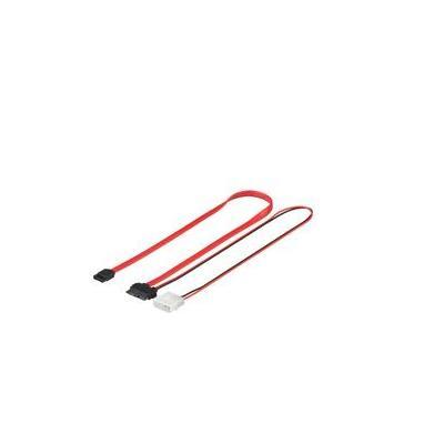 Microconnect ATA kabel: Slim/Mini SATA to SATA + Power, 0.25 m - Zwart, Rood