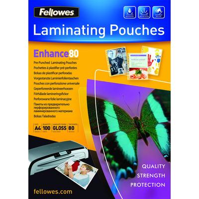 Fellowes 80 micron lamineerhoes geperforeerd A4 Laminatorhoes - Transparant
