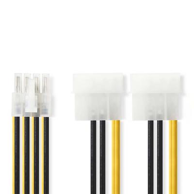 Nedis Interne Voedingskabel, EPS 8-Pins Male - 2x Molex Male, 0,15 m, Diverse - Zwart, Geel
