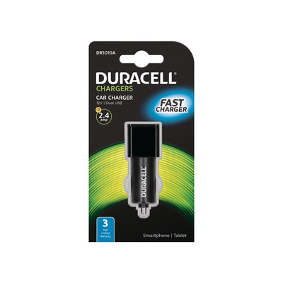 Duracell 2 x 2.4A USB In-Car Charger Oplader - Zwart