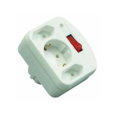 REV adapter surge protection with switch, 2+1-gang, white Surge protector