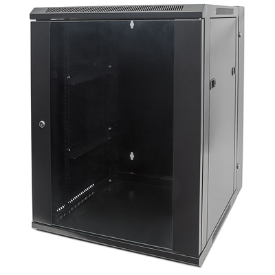 "Intellinet 19"" Double Section Wallmount Cabinet, 15U, 550mm depth, Assembled, Black Rack - Zwart"