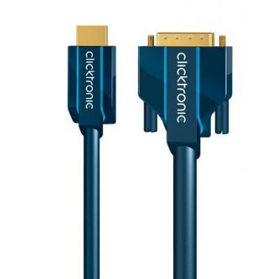 ClickTronic 15m HDMI/DVI Adapter - Blauw