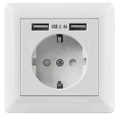 Intellinet 2-Port USB-A Wall Outlet and CEE 7/3 Socket with Faceplate, Two Charging Ports, One Socket .....