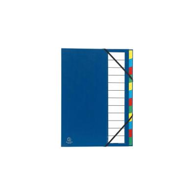 Exacompta map: Harde sorteermap ordonator uitrekbare rug 12 compartimenten - Blauw