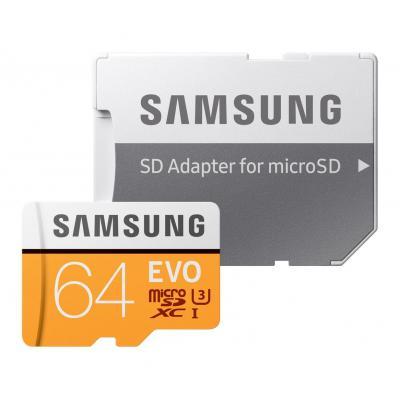 Samsung flashgeheugen: 64GB, MicroSDXC EVO - Oranje, Wit