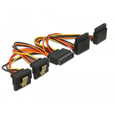 DeLOCK Cable SATA 15 pin power plug with latching function > SATA 15 pin power receptacle 2 x down / 2 x up 15 cm .....
