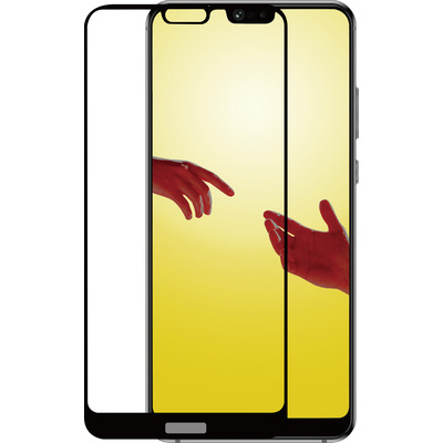 Azuri 2x Tempered Glass flat RINOX ARMOR - zwarte frame - for Huawei P20 Lite Screen protector - Zwart, Transparant