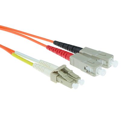 ACT 1m LSZHmultimode 62.5/125 OM1 glasvezel patchkabel duplexmet LC en SC connectoren Fiber optic kabel - Oranje