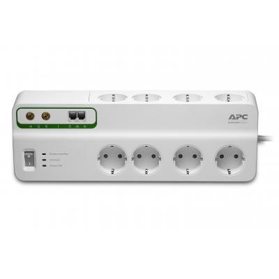 Apc surge protector: Overspanningsbeveiliger 2300W 8x stopcontact + Coax + Telefoon - Wit