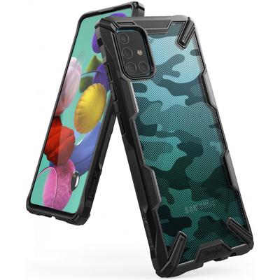 Ringke Fusion X Design Backcover Samsung Galaxy A51 - Camo Zwart - Camouflage Black Mobile phone case