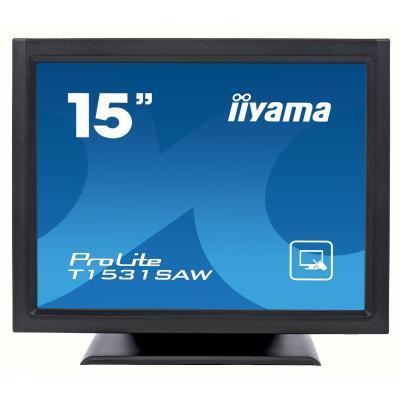 "Iiyama touchscreen monitor: ProLite 38.1 cm (15 "") , TN, 1024 x 768, 8 ms, 320 cd/m², VGA, DVI-D, USB, RS-232C - Zwart"