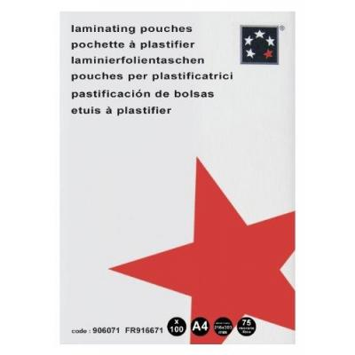 5star laminatorhoes: Laminating Pouches A4 for Thermal Laminator 75 Microns Per Side Pack of 100 Polyester Colourless - .....