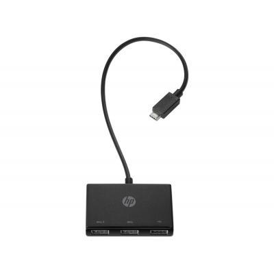 Hp hub: USB-C to USB-A Hub - Zwart