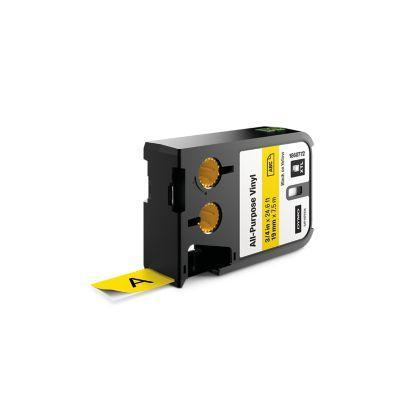 "Dymo labelprinter tape: XTL 3/4"" (19 mm) universeel vinyl, zwart op geel"