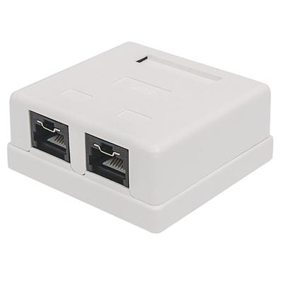 Intellinet Mount Box, Cat6, UTP, 2 Port, Locking Function, White - Wit