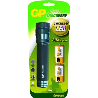 Gp batteries zaklantaarn: LED torch incl. 2 x 13AU & 3W CREE LED - Zwart, Grijs