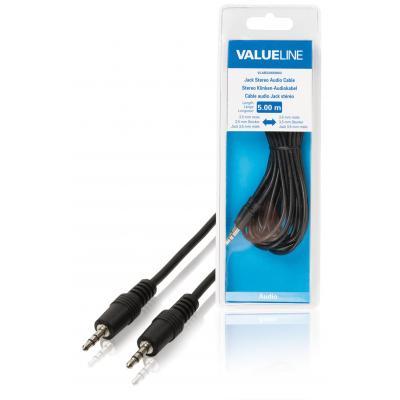 Valueline : Jack stereo audiokabel 3.5 mm mannelijk - 3.5 mm mannelijk 5.00 m zwart