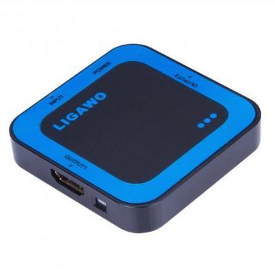 Ligawo video splitter: HDMI splitter 1x2, 3D passive, USB, 1920 x 1080, 15 m, 39g - Zwart, Blauw