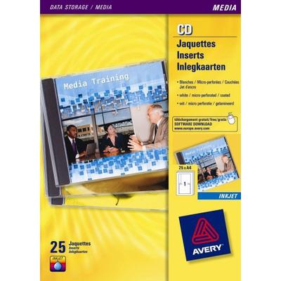 Avery CD Inlegkaarten, Inkjet, Wit, Mat, 50pcs. Etiket