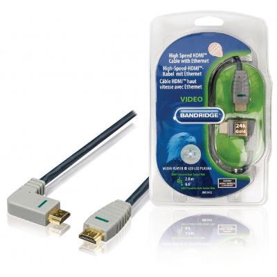 Bandridge 2m, HDMI, M/M, Blue/Grey HDMI kabel - Blauw, Grijs