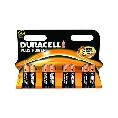 Duracell batterij: Alkaline, AA, 1.5v, 8st - Zwart, Oranje