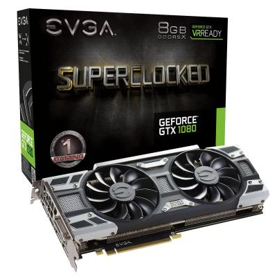 Evga videokaart: GeForce GTX 1080, 8192MB GDDR5, 256 Bit, PCI-E 3.0, HDMI, DisplayPort x 3, DVI